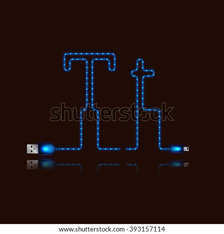 Letter Z laid neon light cable. USB blue cable, vector illustration. - stock vector