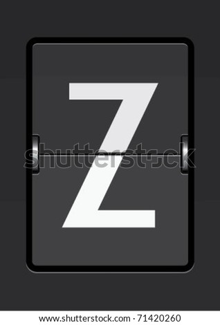 letter  z on a mechanical timetable