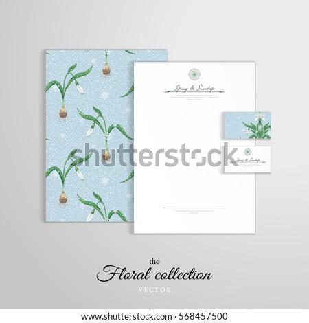 Letterhead folder documents business cards stems stock vector letterhead folder for documents business cards stems of snowdrop flowers and snowfall on colourmoves