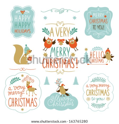 Lettering and Set of Christmas and New Year graphic elements, holiday symbols  - stock vector