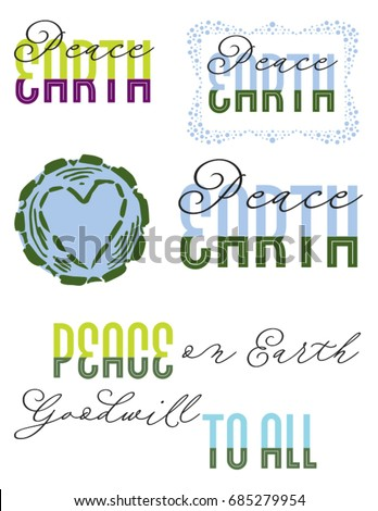 Lettering designs for Peace on Earth