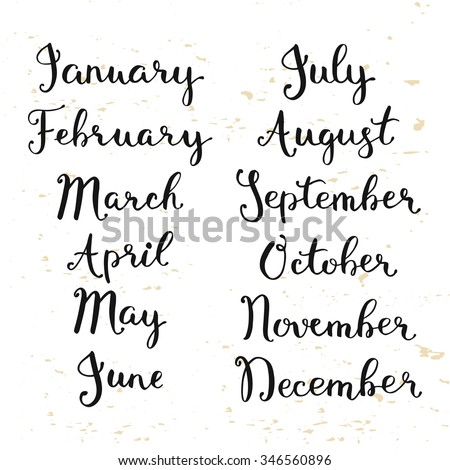 Lettering Your Calendar Design Cute Names Stock Vector 346560896