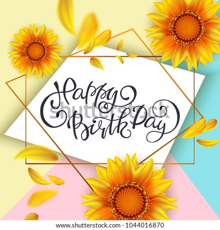 Lettering Happy Birthday Card Template Yellow Stock Vector HD ...