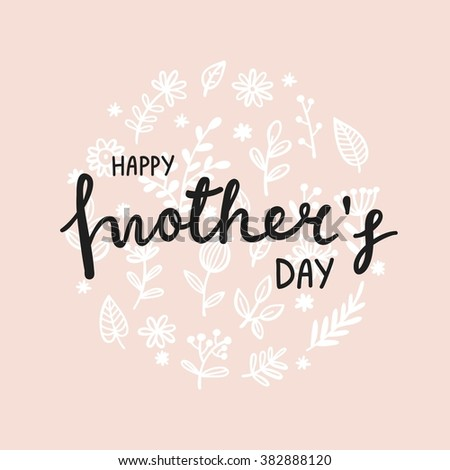 Lettering Happy Mothers Day card - stock vector