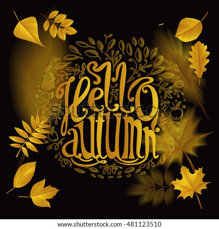 "Lettering ""Hello Autumn""."