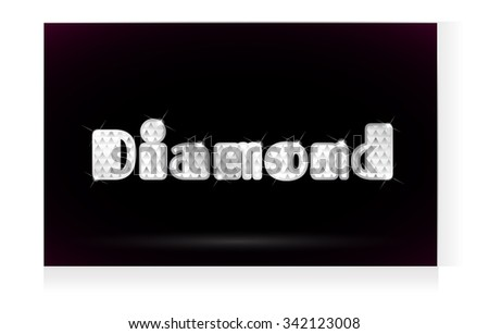 Lettering in diamonds and silver. The word diamond by vector. - stock vector
