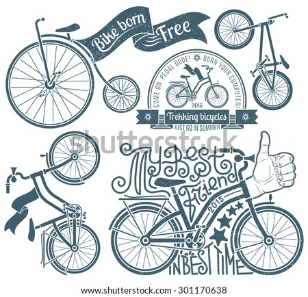 Lettering in logo with a bicycle. Bikes in vintage style with grunge texture. Grunge texture grouped separately and is easily removed. - stock vector