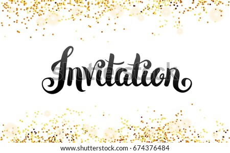 Merry christmas hand lettering golden twig stock vector 488204779 lettering invitation hand drawing you are invited gold glitter invitation gold sparkles stopboris Images