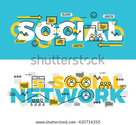 Lettering line design Concept of Social Network. Thin line flat design banners for website , mobile website, presentation, printing,web banner and landing page. - stock vector