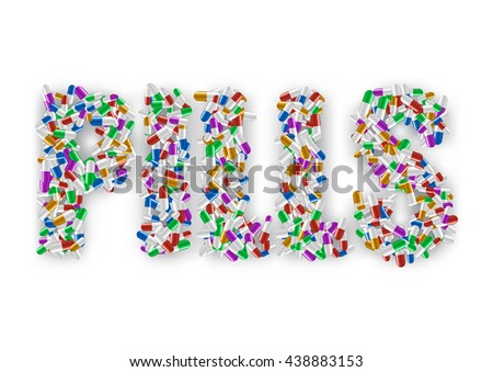 Lettering many colorful pills isolated on white background. Backdrop shadow created with gradient mesh.