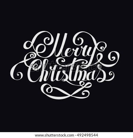 "Lettering ""Merry Christmas and Happy New Year."" Twisted Individual font. Congratulations on Christmas and New Year. Retro.  black."