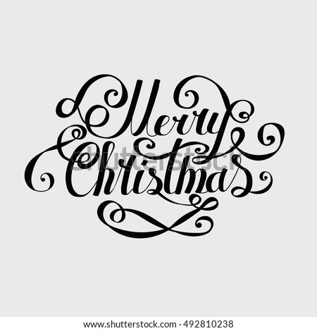 "Lettering ""Merry Christmas and Happy New Year."" Twisted Individual font. Congratulations on Christmas and New Year. Retro"