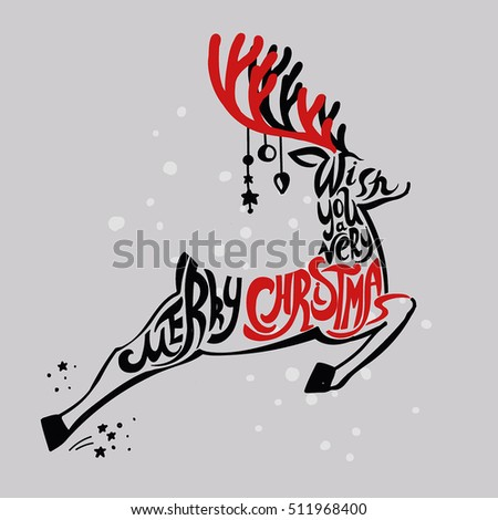 "Lettering ""Merry Christmas."" Christmas illustration composition with reindeer. Cursive. Hand drawing. Light background, red"