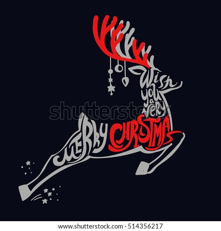 "Lettering ""Merry Christmas."" Christmas illustration composition with reindeer. Cursive. Hand drawing. Dark background, red"