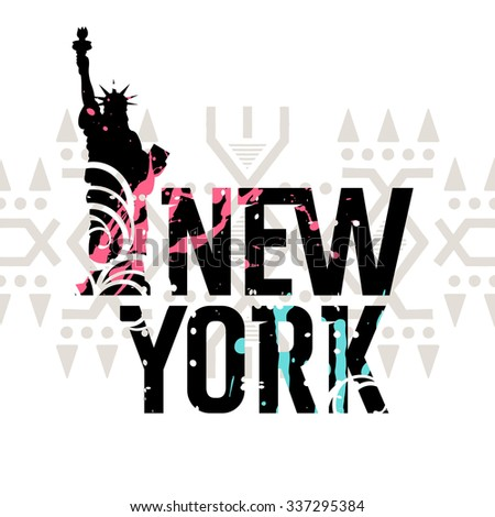 Statue Liberty New York Landmark American Stock Vector