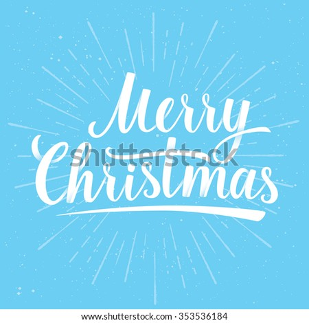 Lettering of Merry Christmas on blue color background with Light Rays. Greeting Card. Vector illustration EPS 10 - stock vector