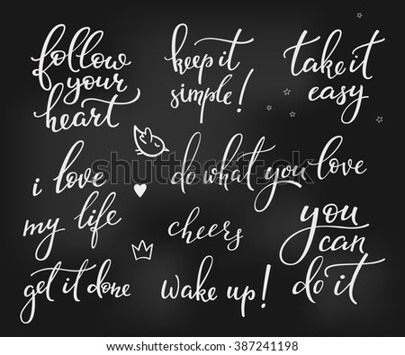 Lettering photography overlay set. Motivational quote. Cute inspiration typography. Calligraphy postcard photo graphic design element. Hand written sign. Love story wedding agenda photo album decor - stock vector