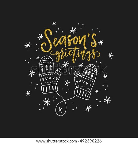 Lettering seasons greetings illustration mittens unique stock vector lettering seasons greetings and illustration of a mittens unique christmas card design m4hsunfo