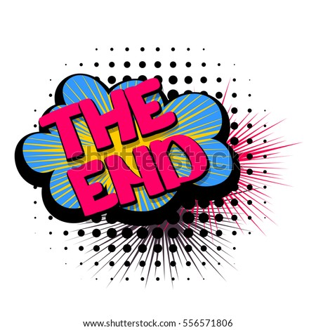 Lettering The End Stop Comic Text Letters Sound Effects Vector Bubble Word