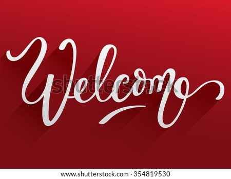 Lettering Welcome On Red Background : Vector Illustration