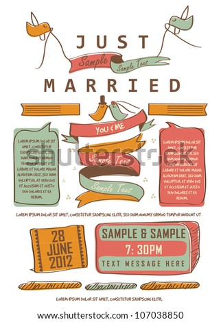 Letterpress Just Married - stock vector