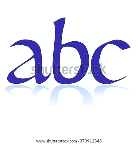 Letters - abc on white background with reflection