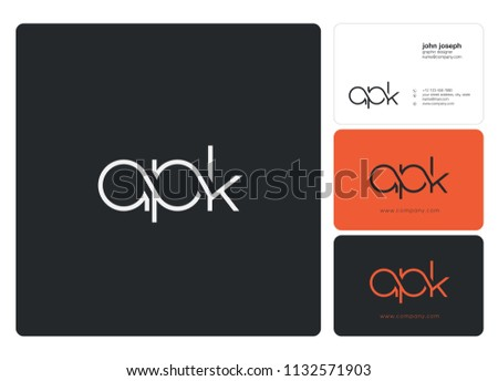 Letters apk logo icon business card stock vector 1132571903 letters apk logo icon with business card vector template colourmoves