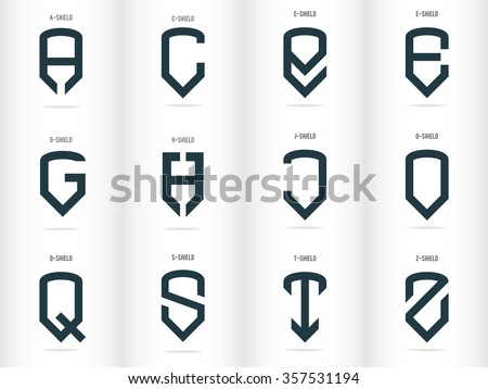 Letters in the form of shields. Logos set. Vector - stock vector