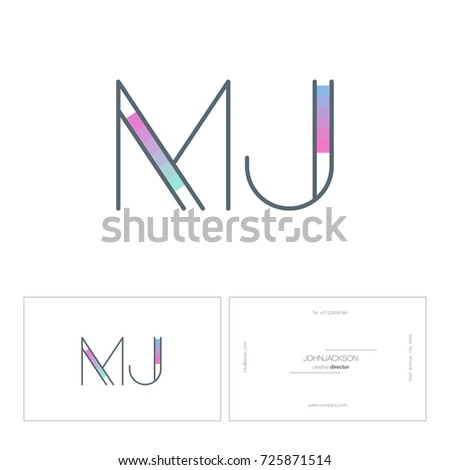 Letters n j logo business card stock vector 725836033 shutterstock letters m j logo with business card template vector pronofoot35fo Images
