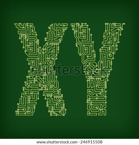 Letters made of tracks printed circuit boards - stock vector