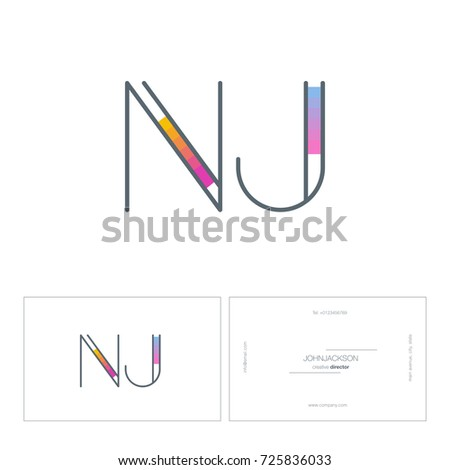 Letters n j logo business card stock vector 725836033 shutterstock letters n j logo with business card template vector pronofoot35fo Images