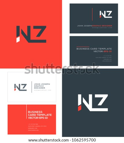 Letters n z n z joint stock photo photo vector illustration letters n z n z joint logo icon with business card vector template reheart Gallery