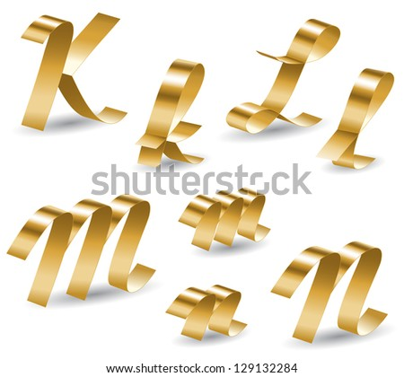 Letters of english alphabet from gold ribbon - stock vector
