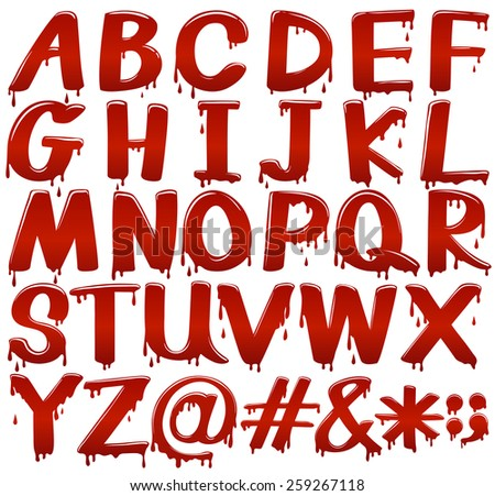 Letters of the alphabet in bloody fontstyle on a white background - stock vector