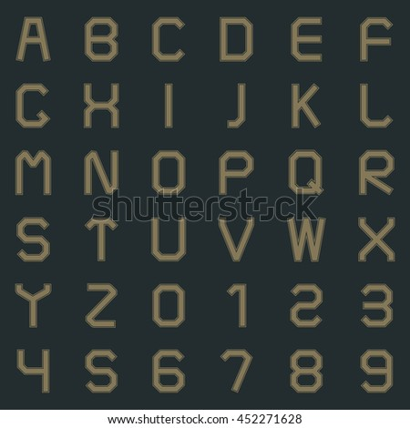 Letters of the Latin alphabet and numbers one, two, three, four, five, six, seven, eight, nine  in retro style vector illustration. - stock vector