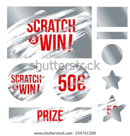 Letters scratch and win. With effect from scratch marks. Suitable for scratch card game and win. vector - stock vector