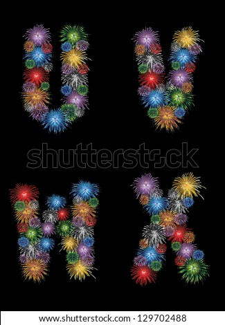 letters (U, V, W, X) made from colorful in the form of fireworks letters - check my portfolio for other letters. - stock vector