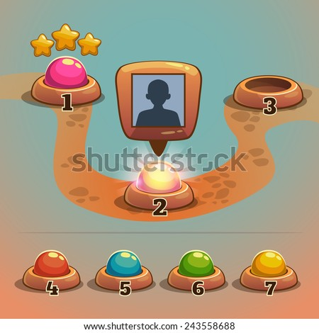 Level indicators for game ui, map pointers  - stock vector