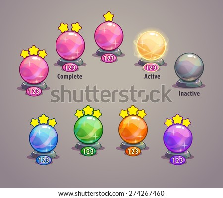 Level indicators for game ui, map pointers, crystal balls - stock vector