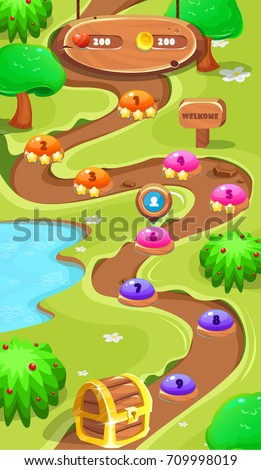 Level map assetsforest world mobile game stock vector 709998019 level map assetsrest world mobile game user interface gui map screen forest map gumiabroncs Choice Image