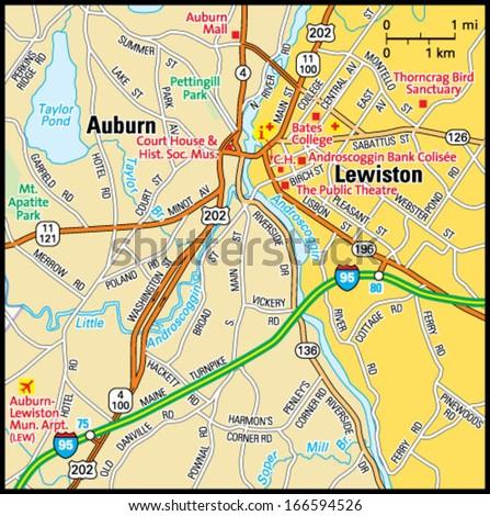 Lewiston Maine Area Map Stock Vector 166594526 Shutterstock