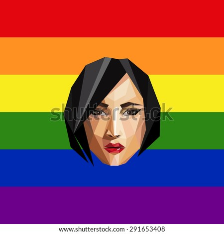 LGBT community member. vector illustration of low-poly human face on the ranbow flag background.  - stock vector