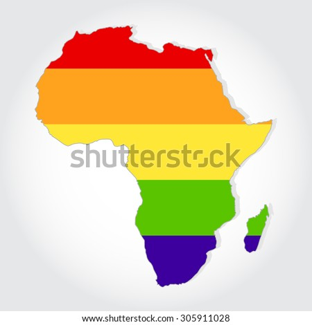 Lgbt flag in contour of Africa with light grey background. Rainbow flag in contour of Africa. - stock vector
