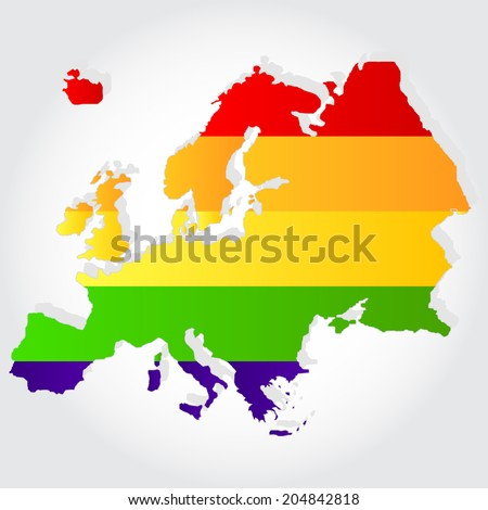 Lgbt flag  in contour of Europe with light grey background. Rainbow flag in contour of Europe - stock vector