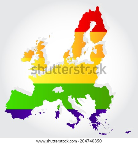 Lgbt flag in contour of European Union with light grey background. Rainbow flag in contour of European Union