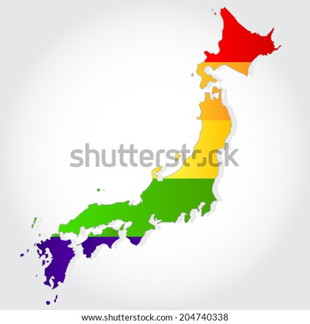 Lgbt flag in contour of Japan with light grey background. Rainbow flag in contour of Japan - stock vector