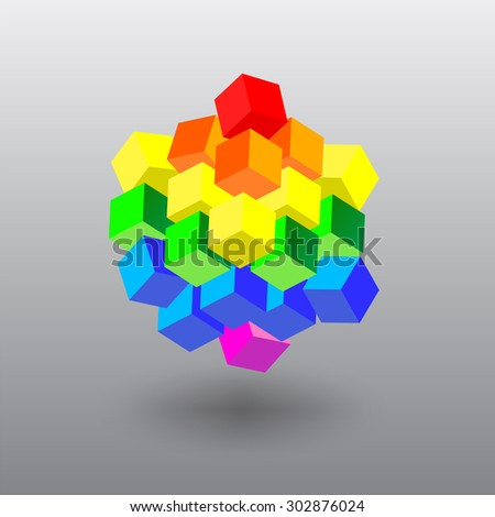 LGBT Flag in the Form of Cubes. Gay and Lesbian Rights. Vector Object - stock vector