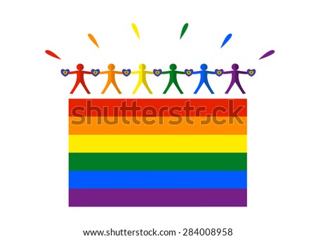 LGBT Flag with Happy People holding LGBT style heart form for annual parades like in June Month Pride events. Editable EPS10 Clip Art. - stock vector