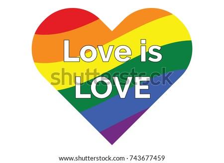 Lgbt Gay Rainbow Symbols Heart Text Stock Vector 743677459