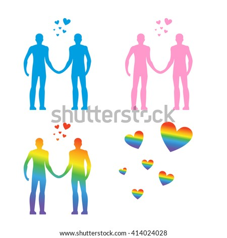 LGBT silhouettes. Gay men, couple. Blue and pink people. Heart rainbow - symbol of LGBT community  - stock vector